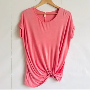 Luxe Pink Gathered Hem Knit Top